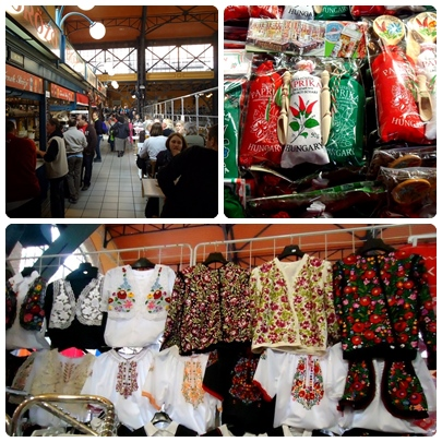 dari kiri atas: food stall, paprika bubuk, dan pakaian tradisional Hungaria