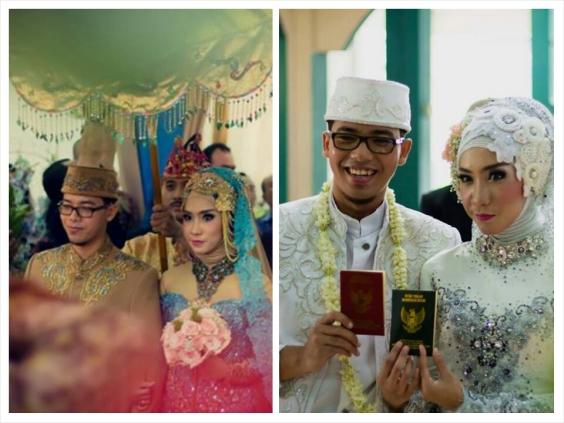 Akad nikah (kanan) dan resepsi (kiri). Foto oleh Chasan Bayu.