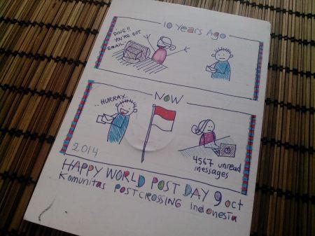 Kartu pos kejutan kiriman teman-teman Komunitas Postcrossing Indonesia (KPI) dalam rangka Hari Pos Sedunia